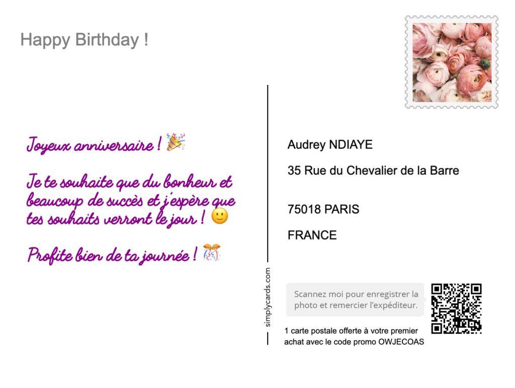 carte anniversaire classique verso